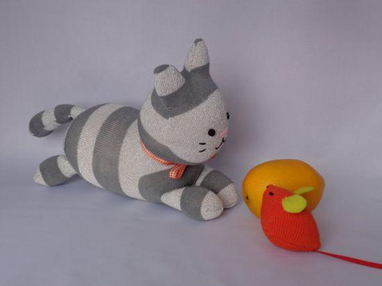Kitty Cat Plush Toy Cat Stuffed Animal Kitten by SockSockWorld