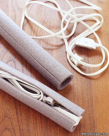 Tidy Cords by marthastewart: Use foam pipe insulation! Duh- ingenious and cheap!