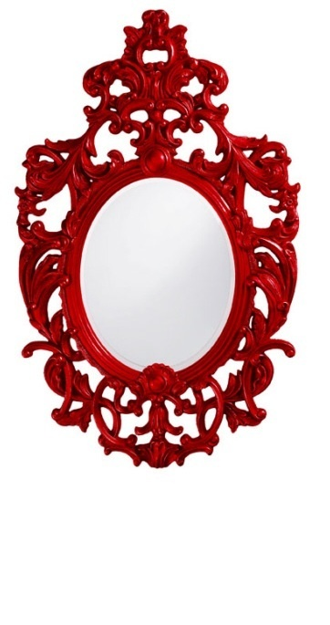 Wall Mirrors, Red High Gloss Lacquer Baroque Dressing Mirror, so elegant, one of over 3,000 limited production interior design inspirations inc, furniture, lighting, mirrors, tabletop accents and gift ideas to enjoy repin and share at InStyle Decor Beverly Hills Hollywood Luxury Home Decor enjoy & happy pinning