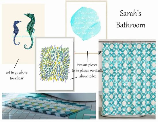 Turquoise, green, and white bathroom design