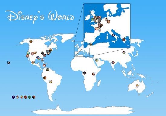 The geography of Disney animated movies on a map