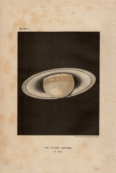 """Antique Print Outer Space """"The Planet Saturn"""""""