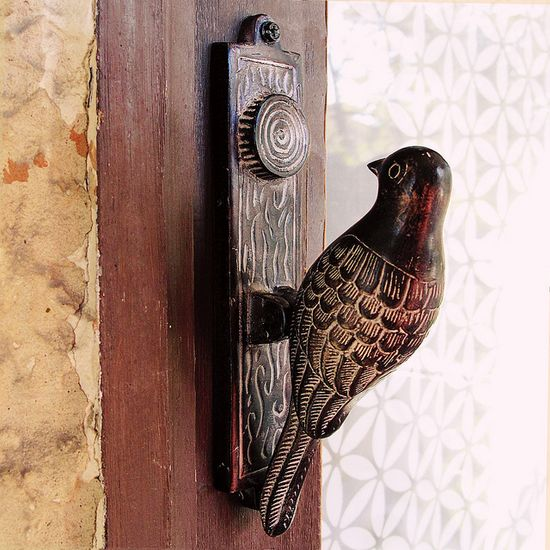 A bird on the door....