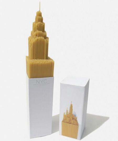Chrysler building inspired packaging for spaghetti [Designer: Alex Creamer]