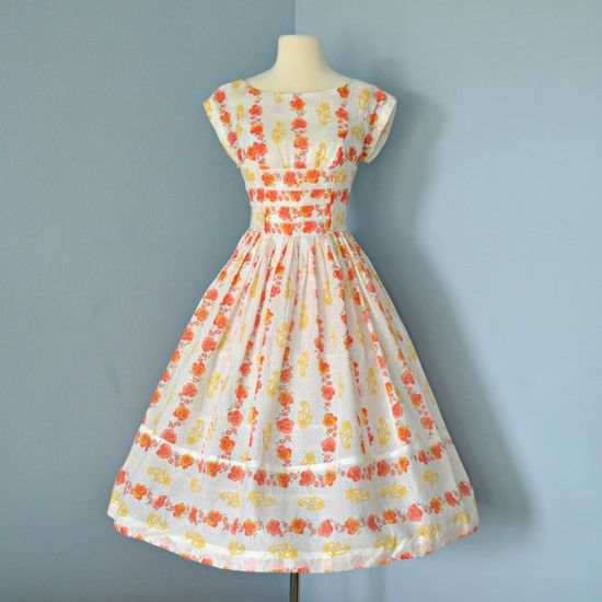 Vintage Summer Dress. 1950s Semi Sheer Floral Print Cotton Sun Dress