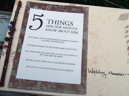 Cute idea: 5 things her side should know about him.
