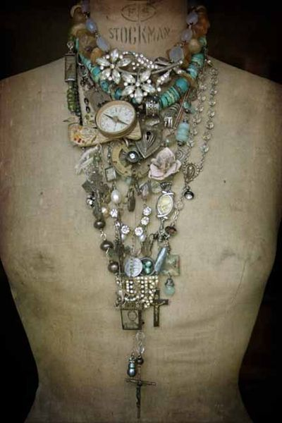 The Alchemy of Objects-handmade jewelry: www.artunraveled.... #jewelry #deryn #necklace #handmade #dressform
