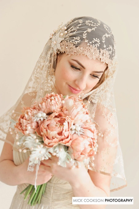 Bridal  bouquet with couture flowers PEONY CHARM - Whimsical Delights Collection. $675.00, via Etsy.
