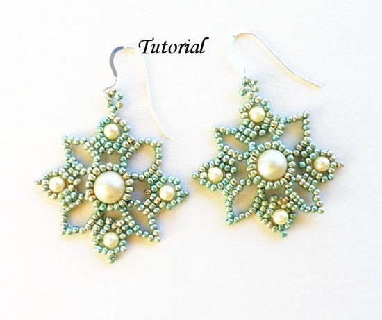 PDF for Venetian Lace Beadwomen Earrings Beading Tutorial - beaded seed bead jewelry - beadweaving beading pattern. $5.50, via Etsy.