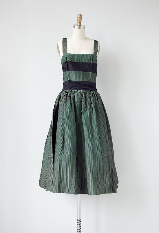vintage 1950s dress / vintage 50s hunter green striped dress / vintage 50s party dress