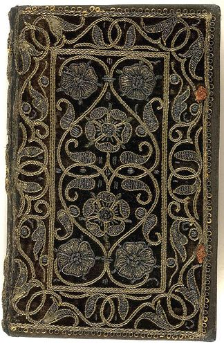 W-O-W!!! 16th century embroidered velvet book with scroll and floral pattern. Collection The British Library.