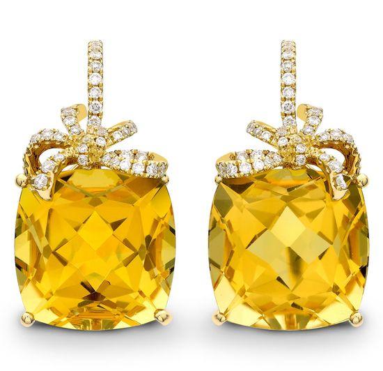 Citrine and diamond Cushion Bow