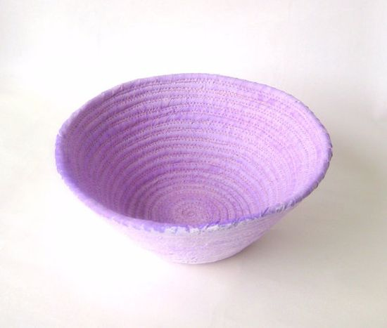Coiled basket handmade pale lavender rustic by SewDanish on Etsy