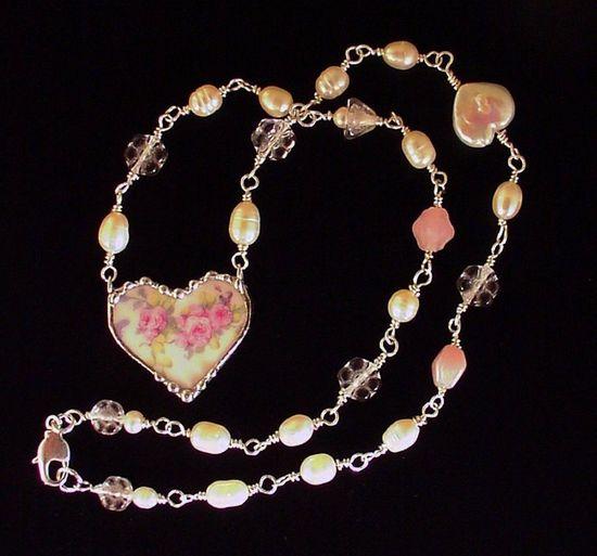 Broken China Jewelry beaded heart necklace