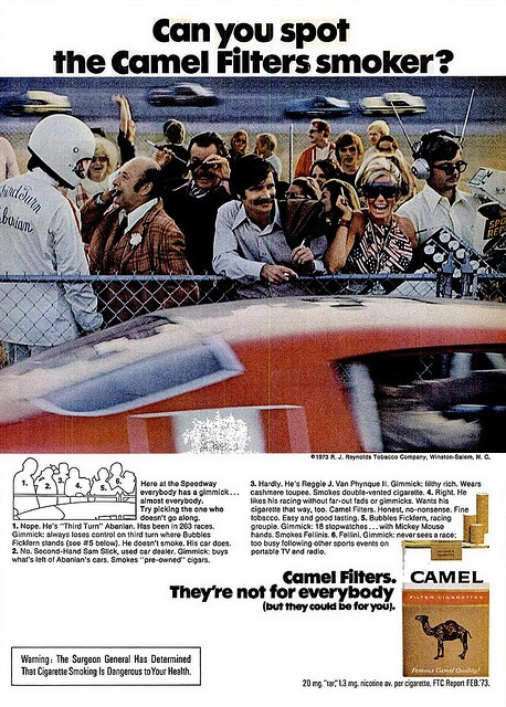 """Camel Filters. """"They're not for everybody."""", 1973"""