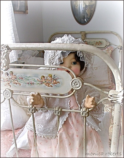 french lit de bébé (crib or cot) handpainted with cherubs ... c. 1900