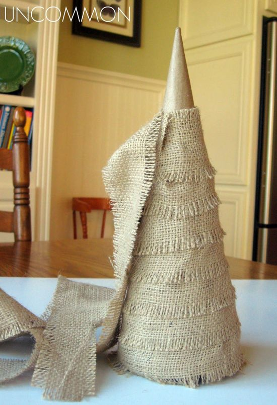 Burlap and Twine Trees... { Last Minute Holiday Home Decor Tutorial }