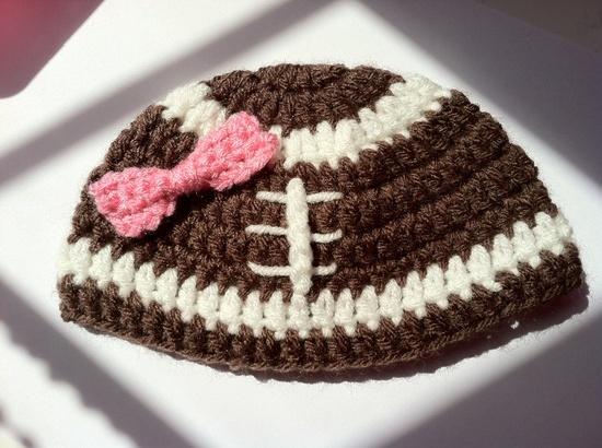 Baby Girl Football Crochet Hat. $16.00, via Etsy.