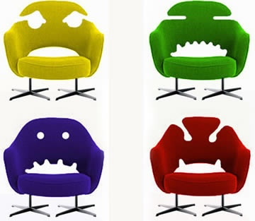 4 vintage modern Monster office chairs, these are creative and colorful office chair designs.