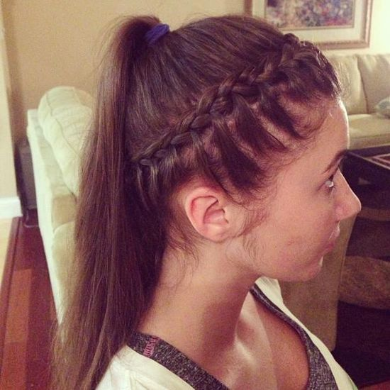 crown braid with ponytail
