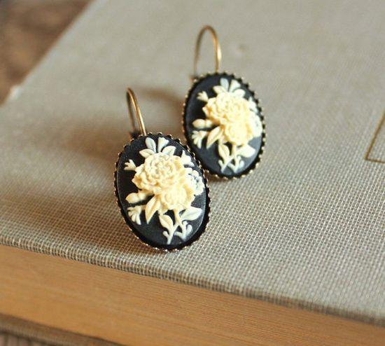 Black Cameo Earrings Lever Back Earrings Nickel by apocketofposies, $23.00