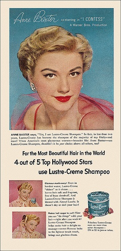 4 out of 5 top Hollywood stars use Lustre-Creme Shampoo (1953). #vintage #1950s #hair #ads #Anne_Baxter