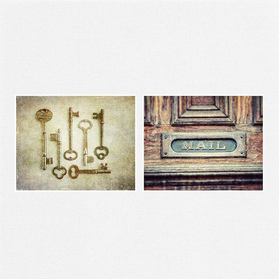 Rustic Foyer Decor Set Kitchen Decor Set Beige by LisaRussoFineArt. #foyerart #kitchendecor #rusticdecor #skeletonkeys #printset