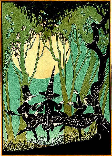 Young Witches Dancing Under the Full Moon--Vintage Halloween Child Life Illustration
