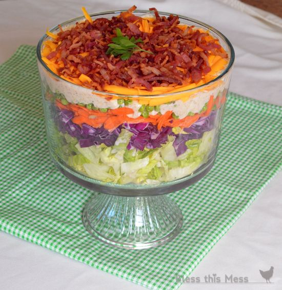 Trifles aren't just for dessert! Seven-layer Salad in a Trifle recipe