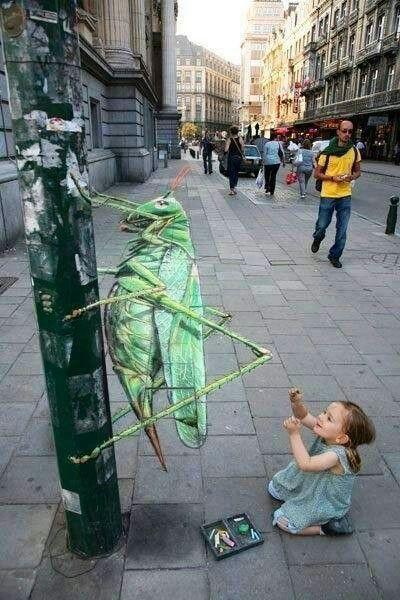 Cricket 3D street art (great, amazing, beautiful, cool, interesting, creative)