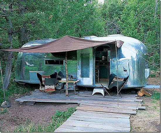 airstream in the wood
