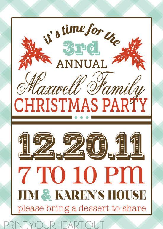 vintage retro Christmas party invitation