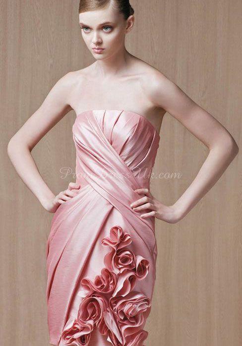 Taffeta Sheath/Column Strapless Short-length Bridesmaid Dress With Hand-made Flowers