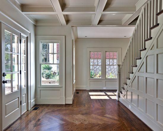 Chevron Pattern hardwood floors in entryway