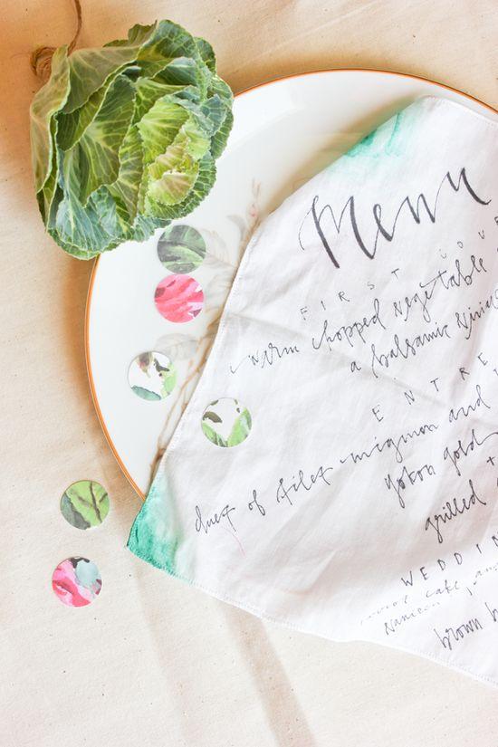 hand lettered handkerchief menu A Fabulous Fete
