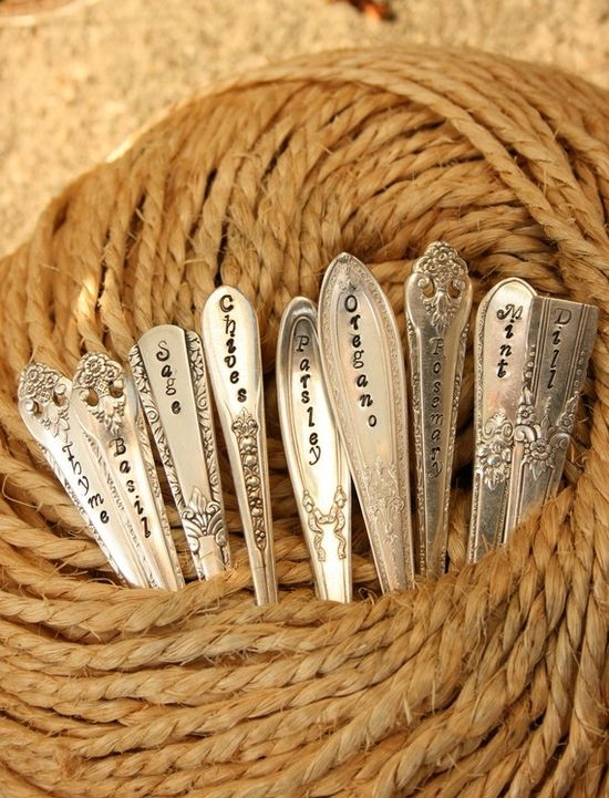 repurposed cutlery etched with herb names