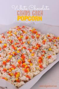 White Chocolate Candy Corn Popcorn on MyRecipeMagic.com #popcorn #candycorn #white #chocolate