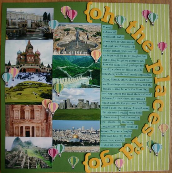 travel scrapbook layout