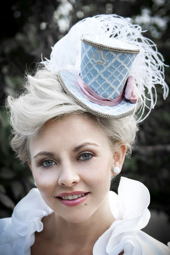 object www.etsy.com/... Nautical Mini Top Hats Anchors Blue Pink Headpiece Marie Antoinette