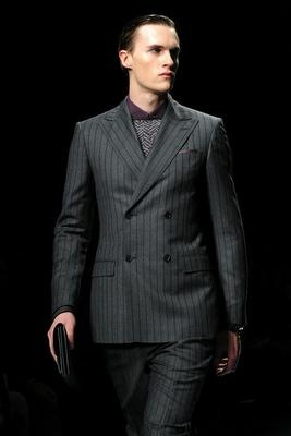 A model displays a creation of Salvatore Ferragamo Fall-winter 2012-2013 Menswear collection on January 15, 2012 during the Men's fashion week in Milan.