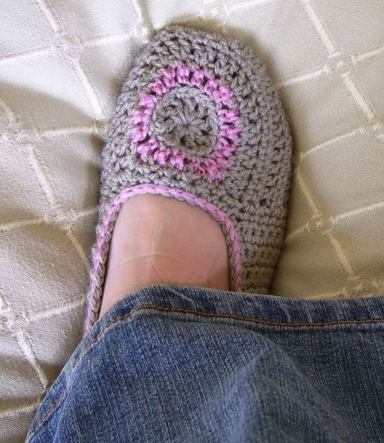 Crochet slippers.  Wish I had the pattern.