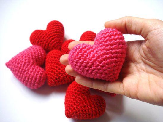 Pink Amigurumi Crochet Heart  Set of 2 by AllSoCute on Etsy, $12.00