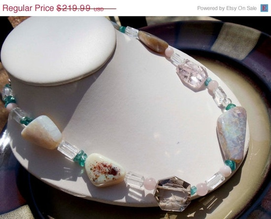 SALE Handmade Opal and Rose Quartz necklace by PaganCellarJewelry, $186.99