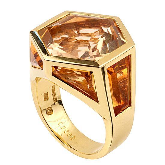 MARINA B. Geometric Citrine and Diamond Ring