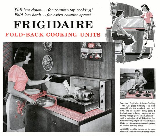 The space saving design of the Frigidaire fold-back cooking unit. #vintage #1950s #kitchen #stove #cooking #homemaker #housewife #retro #mid_century_design