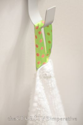 DIY Towel Hooks for Kids - different ribbon for each child, saves confusion.