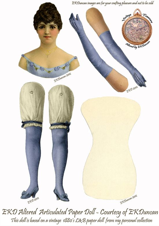 I've altered another L Vintage Paper Doll from my personal collection.  This c1888 cutie looks a lot like the actress Pauline Hall.  See the original paper doll and the other color versions of her at www.ekduncan.com/...