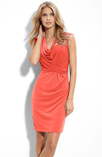 Cowl Neck Jersey Dress / Donna Ricco #dress