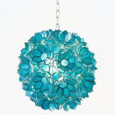 """World's Away"" Venus Pendant Lamp :: {Capiz Shell, Floral, Turquoise}"