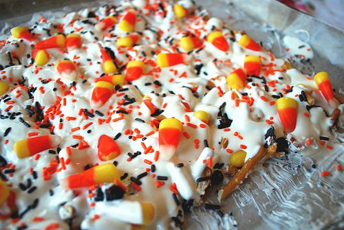 Candy corn, pretzel, Halloween Oreo bark